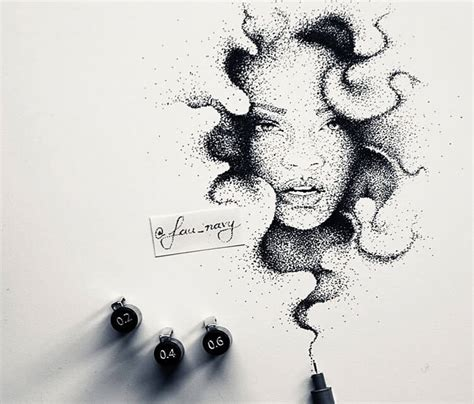dotwork tattoo pen rihanna dotwork pen drawing by fau navy no 1702
