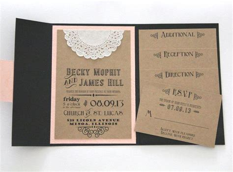 pocket wedding invitations with inserts rustic wedding invitation pocket fold invitation set