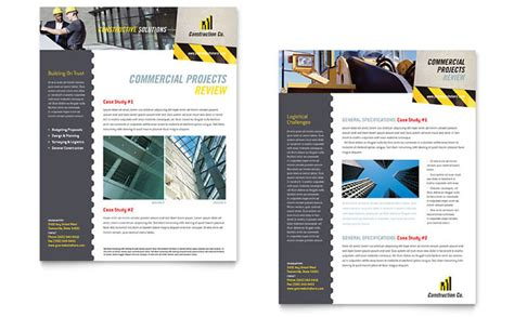 Construction Newsletter Industrial Commercial Construction Datasheet Template Design