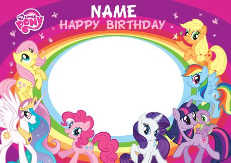 printable birthday card my little pony www funkypigeon com personalised photo upload card my