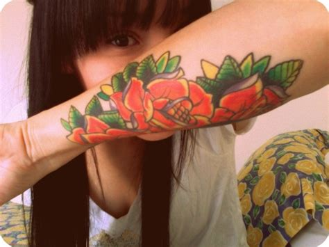fuck you tattoo roses are orange petals ar green you and thats it