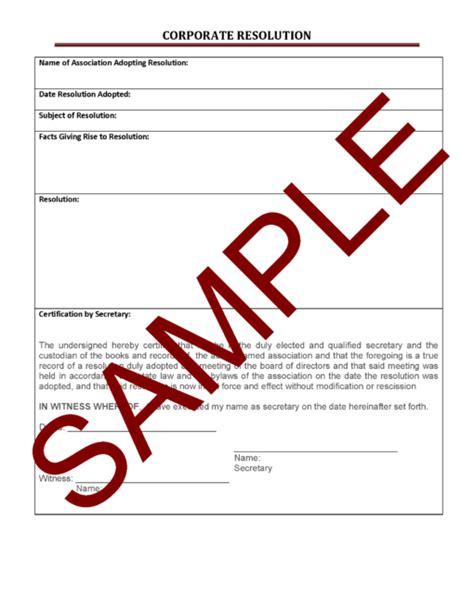 corporate resolution form corporate resolution general form hoa member services