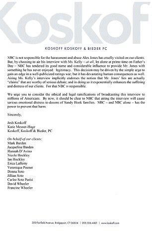 sandy hook families send legal letter threatening nbc