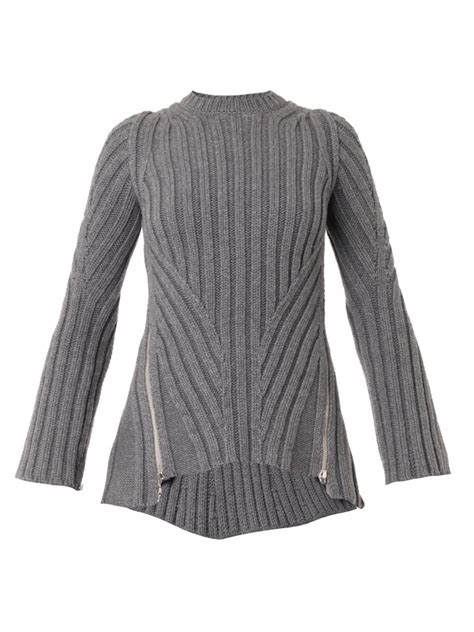 ribbed sweater mcqueen zip side ribbed knit sweater in gray lyst