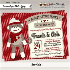 sock monkey baby shower invitation template 1000 ideas about monkey invitations on