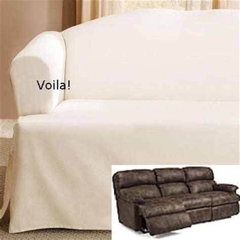 White Slipcover For Recliner t cushion dual reclining sofa slipcover cotton white 3 seater recliner slip cover sure fit