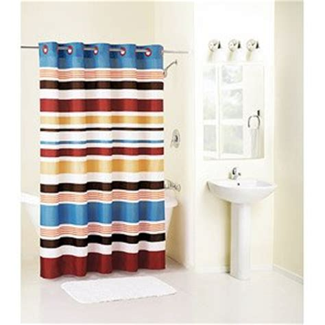 red hookless shower curtain hookless century stripe red blue stripe fabric shower curtain