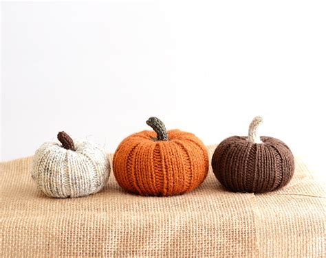 three little pumpkins hand knit autumn fall decor knit
