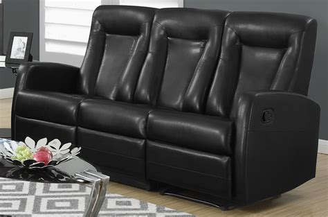 Bonded Leather Recliner Sofa 82bk 3 Black Bonded Leather Reclining Sofa From Monarch Coleman Furniture