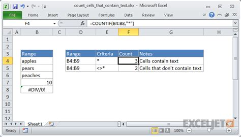 excel formula count cells that contain text exceljet