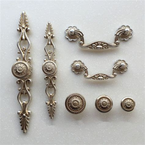 silver kitchen cabinet knobs french shabby chic dresser pulls handles antique
