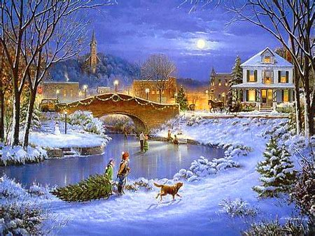 Christmas Scene Wall Murals country winter days 3d and cg amp abstract background