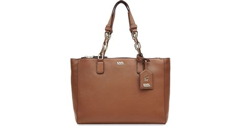 Karl Lagerfeld Says Get A Bag Perhaps From His New Purse Line by Karl Lagerfeld Grainy Leather Tote Bag Camel In Brown Lyst