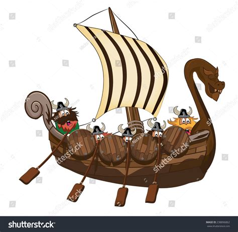 viking boats cartoon viking long ship cartoon stock illustration 238896862