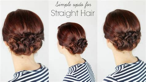 updo hairstyles for straight hair simple updo for straight simple updo for straight hair youtube