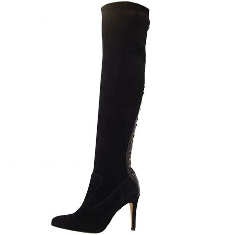 the knee suede high heel boots kaiser c east tout kamen black the knee
