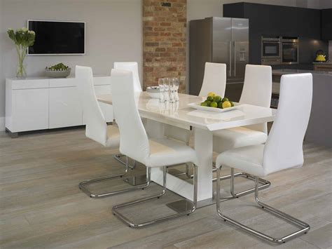White Modern Dining Room Sets Attachment Modern White Dining Chairs 1219 Diabelcissokho