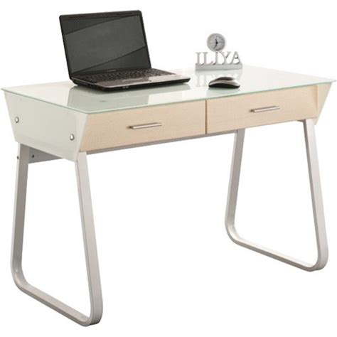 computer desk with 2 drawers 1100x580x760mm glass top