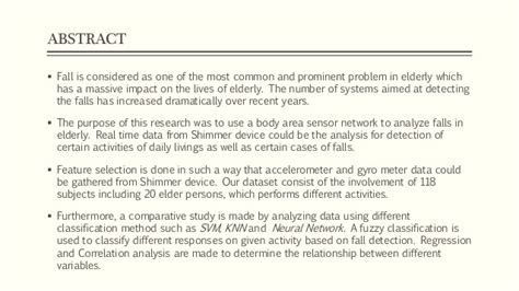 pattern classification in wireless networks fall detection system for the elderly based on the