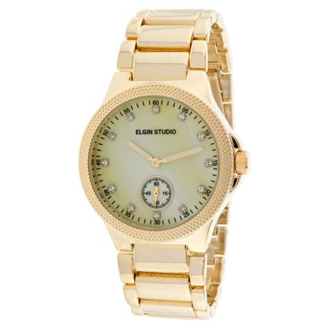 elgin gold tone link bracelet w