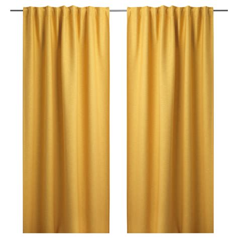 yellow drapes vilborg curtains 1 pair yellow 145x300 cm ikea