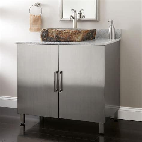steel bathroom vanity 36 quot mercutio stainless steel vessel sink vanity