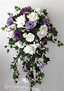 Baby S Breath Bouquet Lavender Amp White Or Ivory Roses Cascading Bouquet