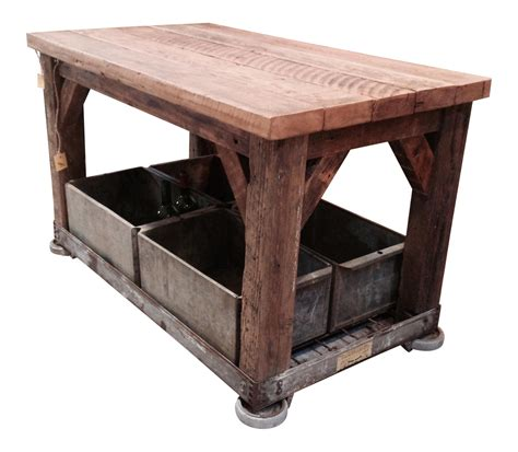 table with storage bins rolling industrial table with storage bins chairish