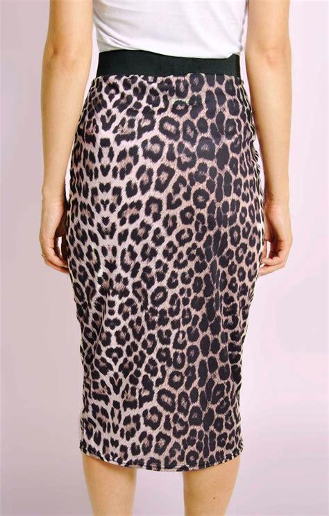 leopard print midi pencil skirt