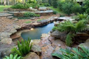 Backyard Tropical Landscaping Ideas - natural waterfall amp swimming pool tropical pool houston by exterior worlds landscaping