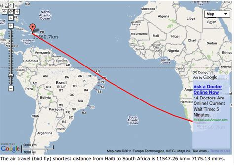 distance as the flies distance from haiti to south africa distance from haiti to