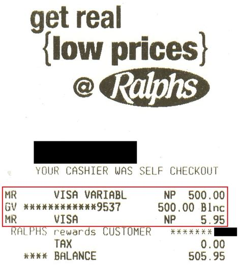 Gift Cards Available At Ralphs - ralph receipt 505 95 gc purchase