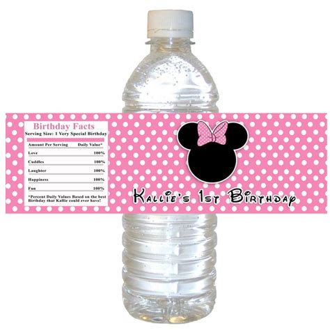 printable vinyl for water bottles pin by tina kelly on minnie mouse birthday pinterest