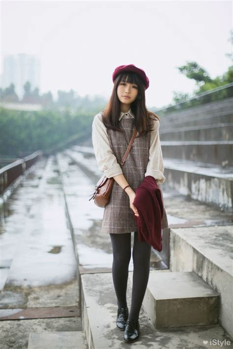 how to wear a beret with bangs gyaru elegant dark red beret off white shirt gray