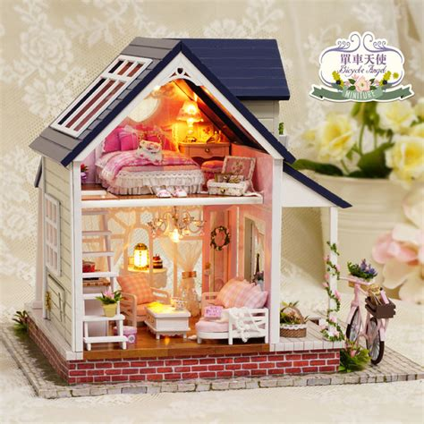 large doll house kits aliexpress com buy diy miniature dollhouse wooden toy house bicycle angel cute room diy big