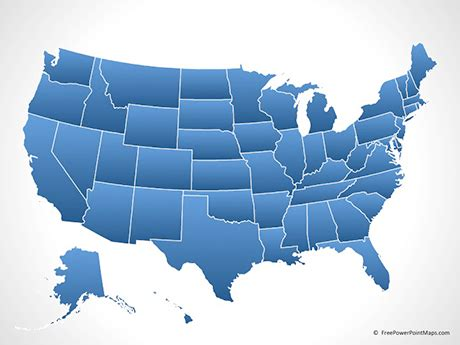 us map with and blue states powerpoint 174 map of united states of america with states