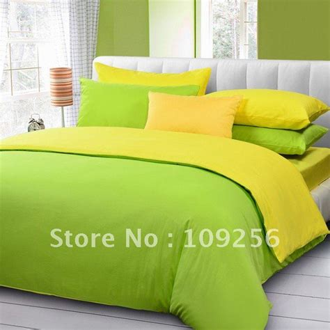 Sprei My Polos Free Ship 100 Sateen Cotton Green Yellow Color Luxury