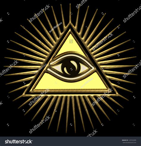 eye god gold pyramid stock photo