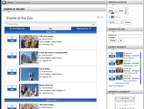 Jevents Layout View | the jevents demo
