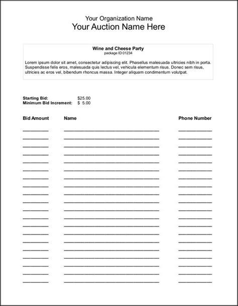 silent auction bid sheet template search