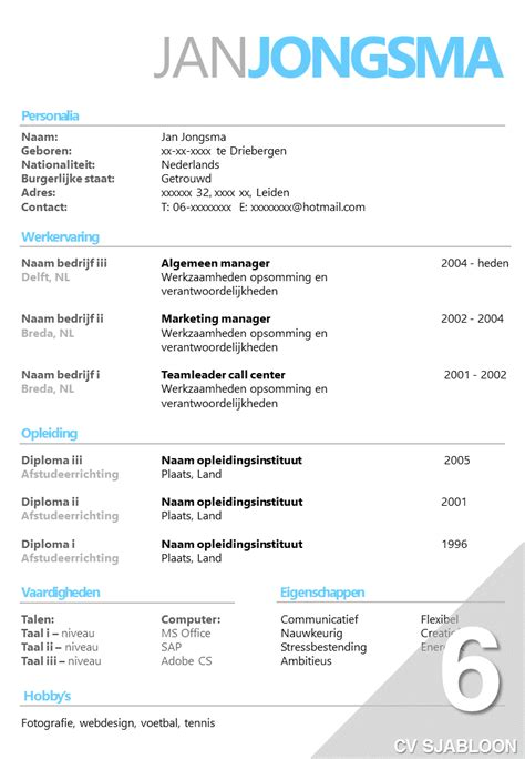 Cv Sjabloon Office 2010 cv sjabloon 6 opvallend effici 235 nt