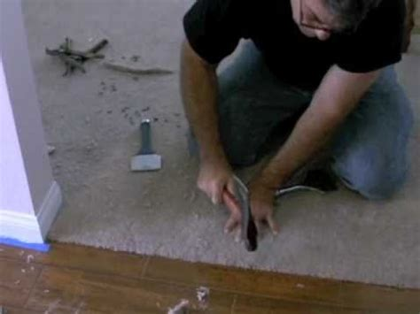 Carpet to tile transiton using the Pam Glue Gun to attach