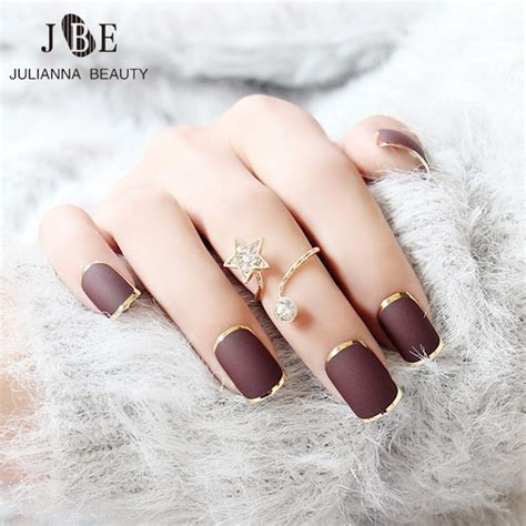 acryl nail aliexpress buy 24pcs new brown false nails metallic