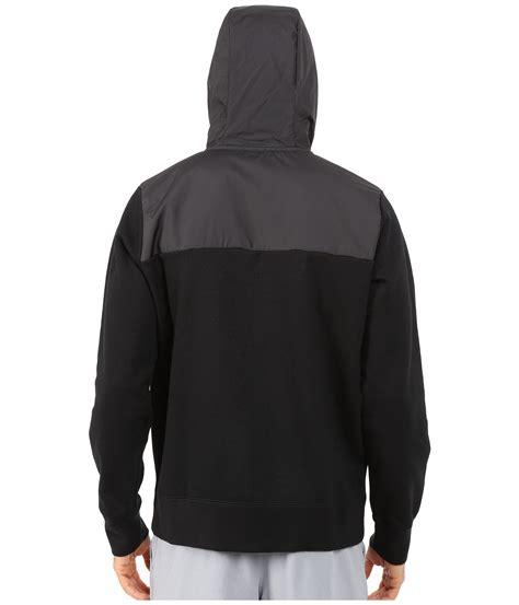 lyst nike aw77 fleece zip hoodie hybrid in black for