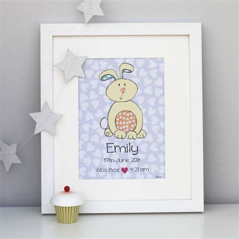 bunny personalised children s print by delly doodles