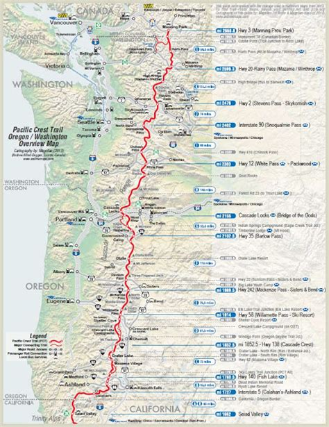pct sections take a hike map of the pacific crest trail
