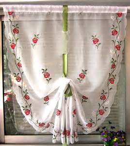 Balloon Curtains For Kitchen Balloon Embroidered Sheer Cafe Curtain Kitchen Curtain Free Shipping Jpg