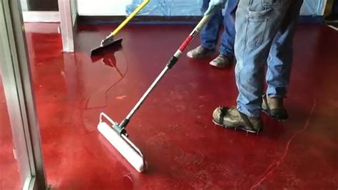 red concrete floor coating youtube how to stain concrete floors with spartacote polyaspartic
