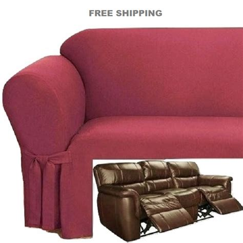 Dual Reclining Sofa Slipcover Ribbed Texture Spice Red Dual Reclining Sofa Slipcover
