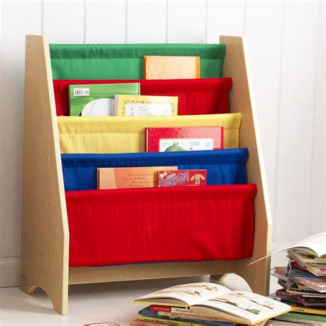 book display bookshelf with four canvas sling shelves